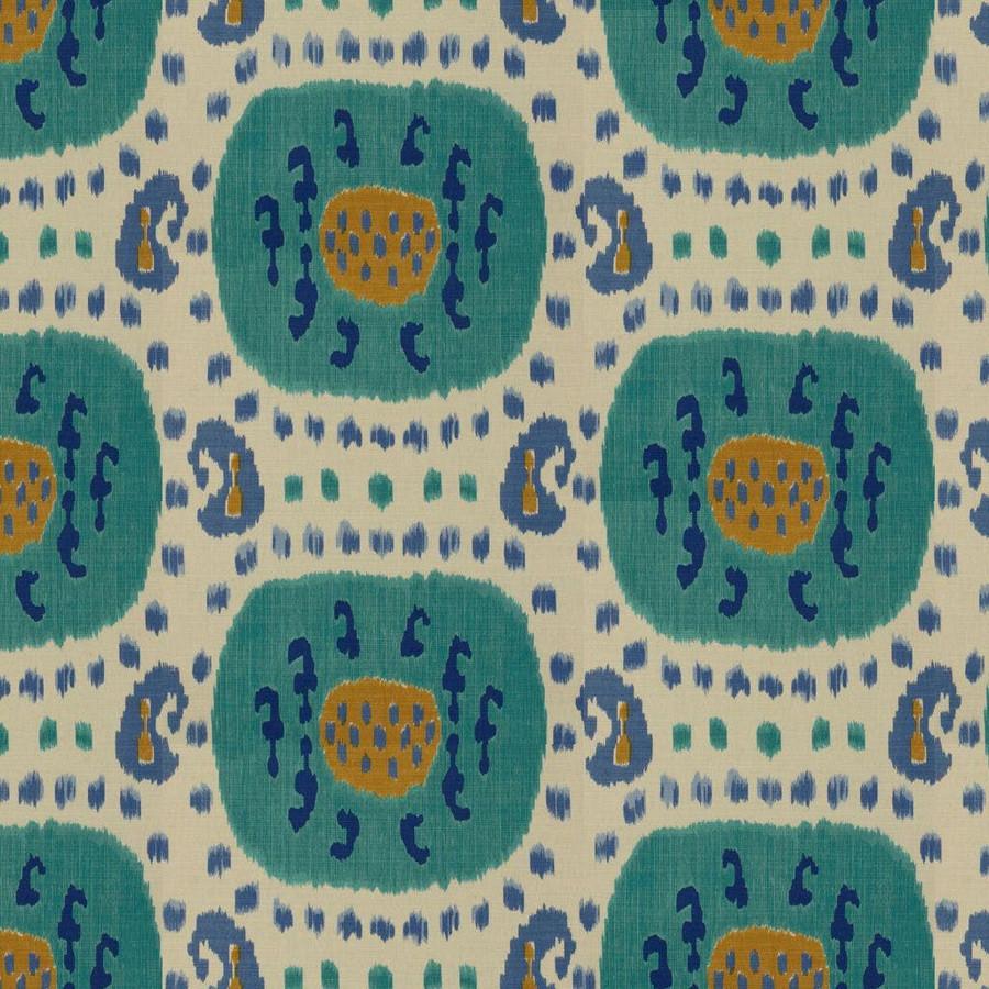 Samarkand Cotton and Linen Print Aqua Blue BR-71110 248
