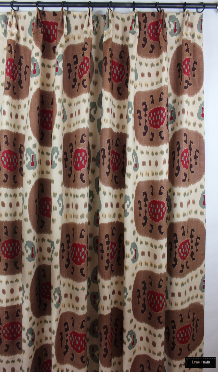 Custom Drapes in Samarkand Cotton and Linen Print Brown on Beige BR-71110_08