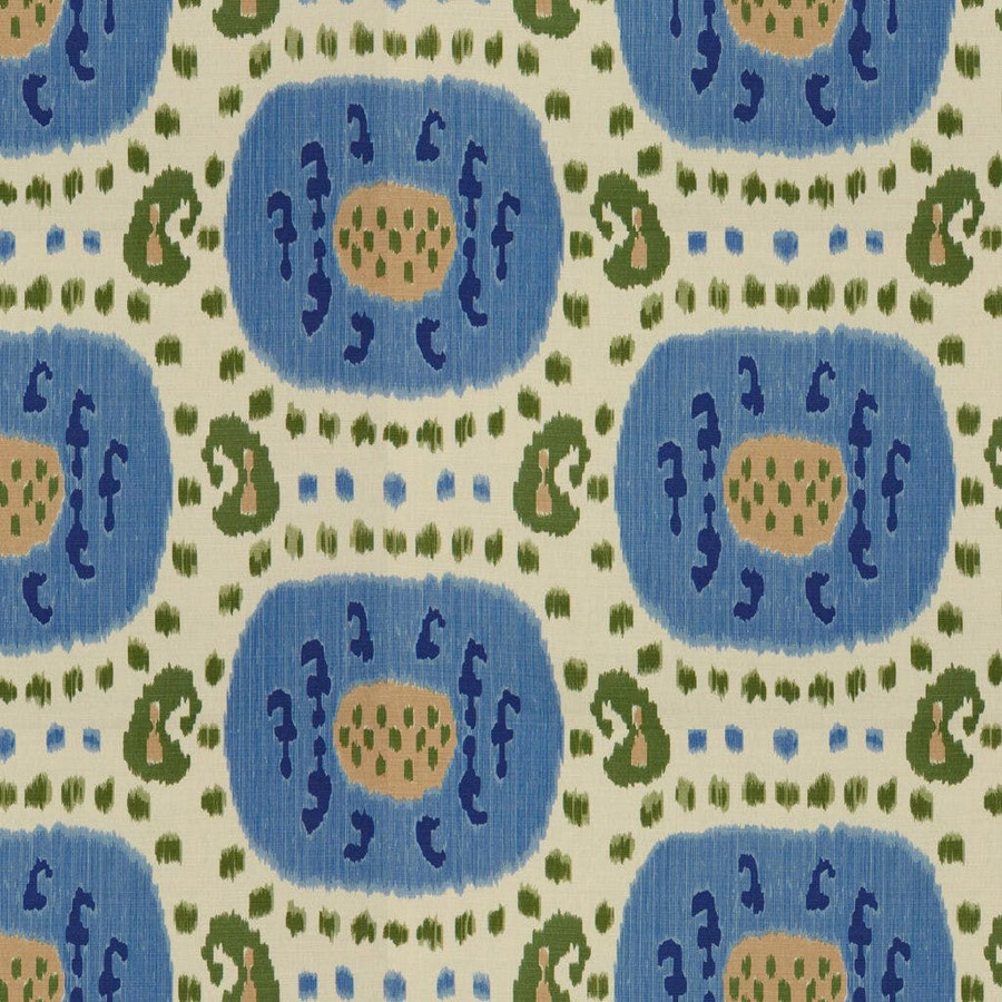 Samarkand Cotton and Linen Print Canton Blue Green BR-71110 221