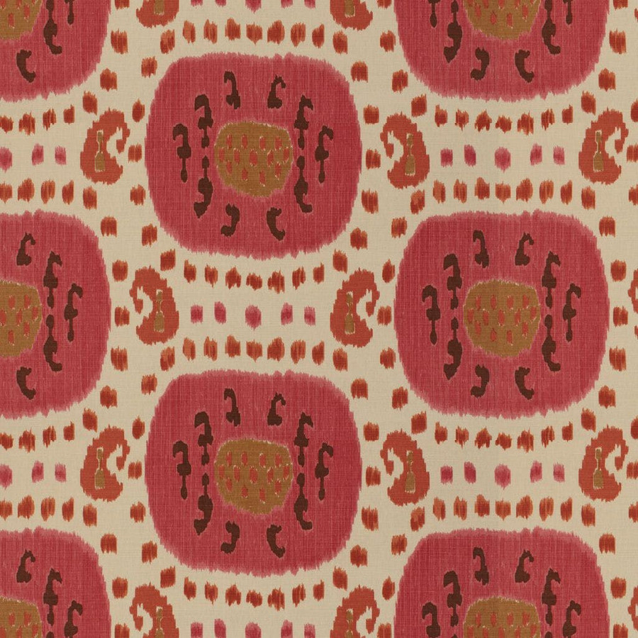 Samarkand Cotton and Linen Print Dusty Rose Rust BR-71110 119