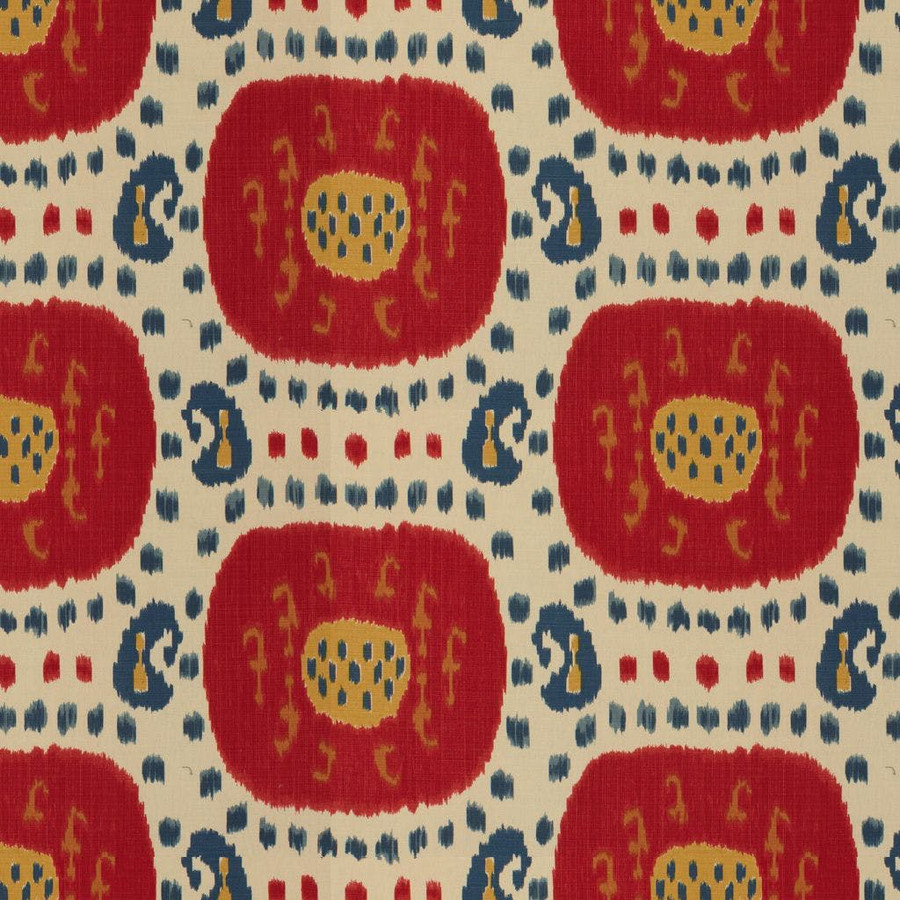Samarkand Cotton and Linen Print Pompeian Red Oxford Blue BR-71110 147