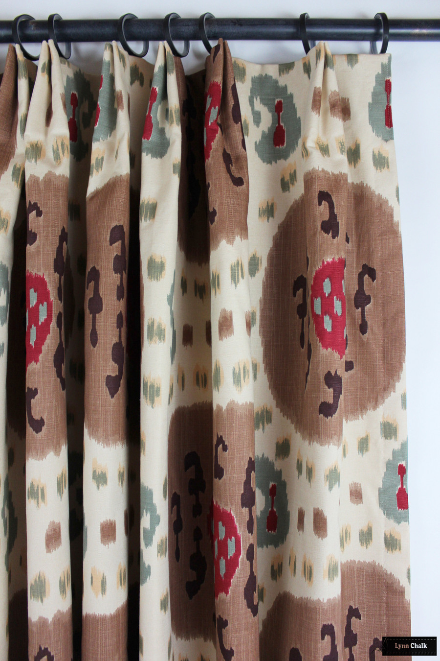 Custom Drapes in Samarkand Cotton and Linen Print Brown on Beige BR-71110 08