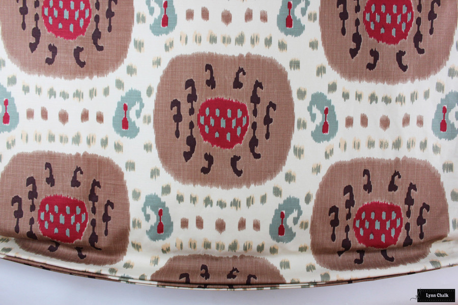 Custom Relaxed Roman Shade in Samarkand Cotton and Linen Print Brown on Beige BR-71110_08