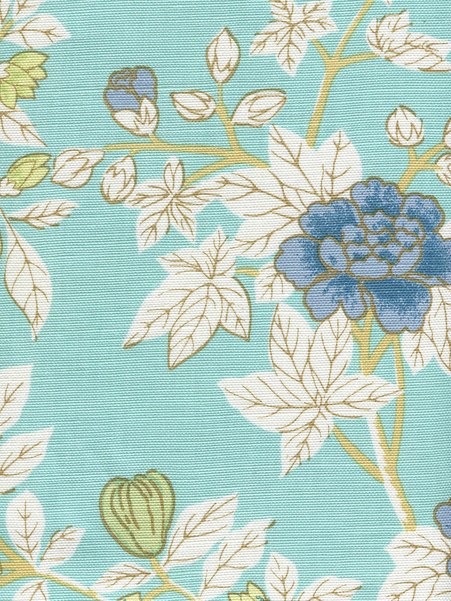 Happy Garden Turquoise on White 306062F