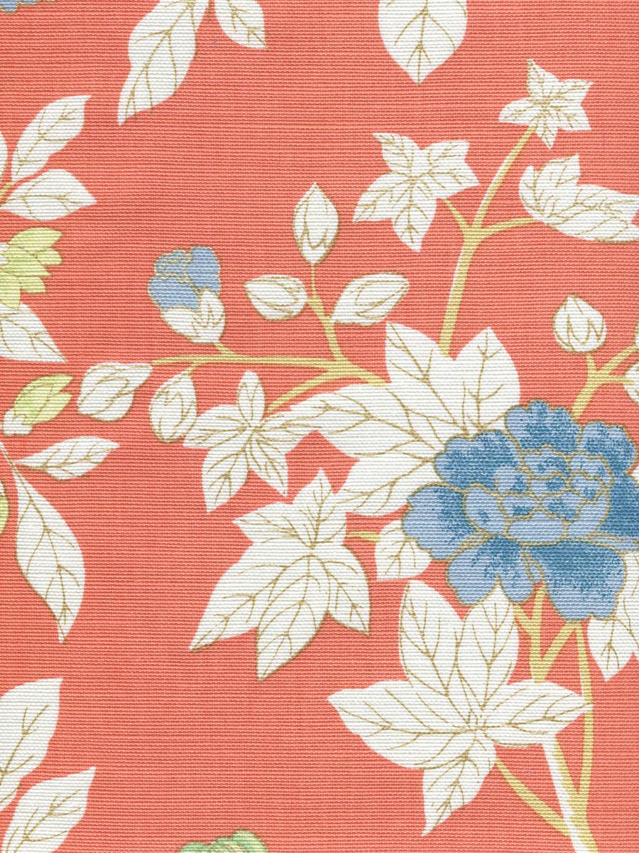 Happy Garden Rust Orange on White 306063F