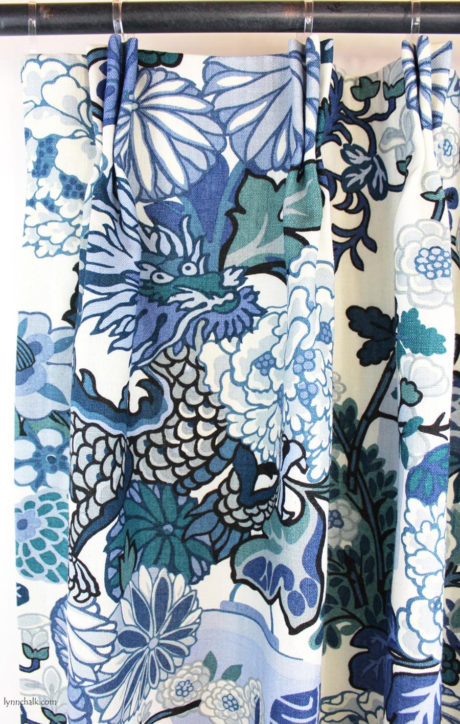 Custom Pleated Drapes by Lynn Chalk in Chiang Mai Dragon in China Blue