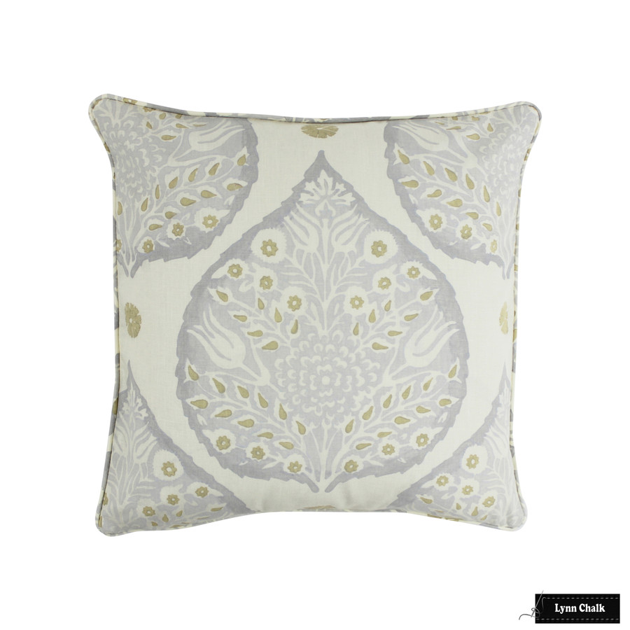Galbraith and Paul Lotus Dove Grey on Logan Linen Pillow with self welting (20 X 20 )