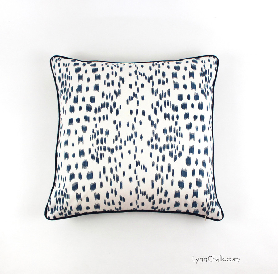 Pillow in Les Touches in Blue with Navy Piping