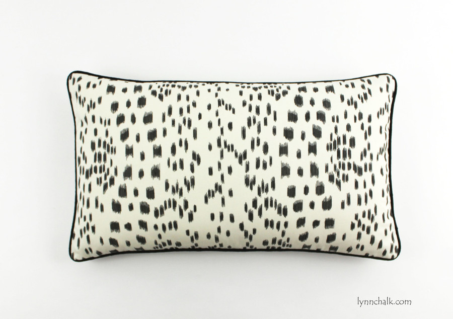 Les Touches Pillow in Black with contrasting black welting (14 X 24)
