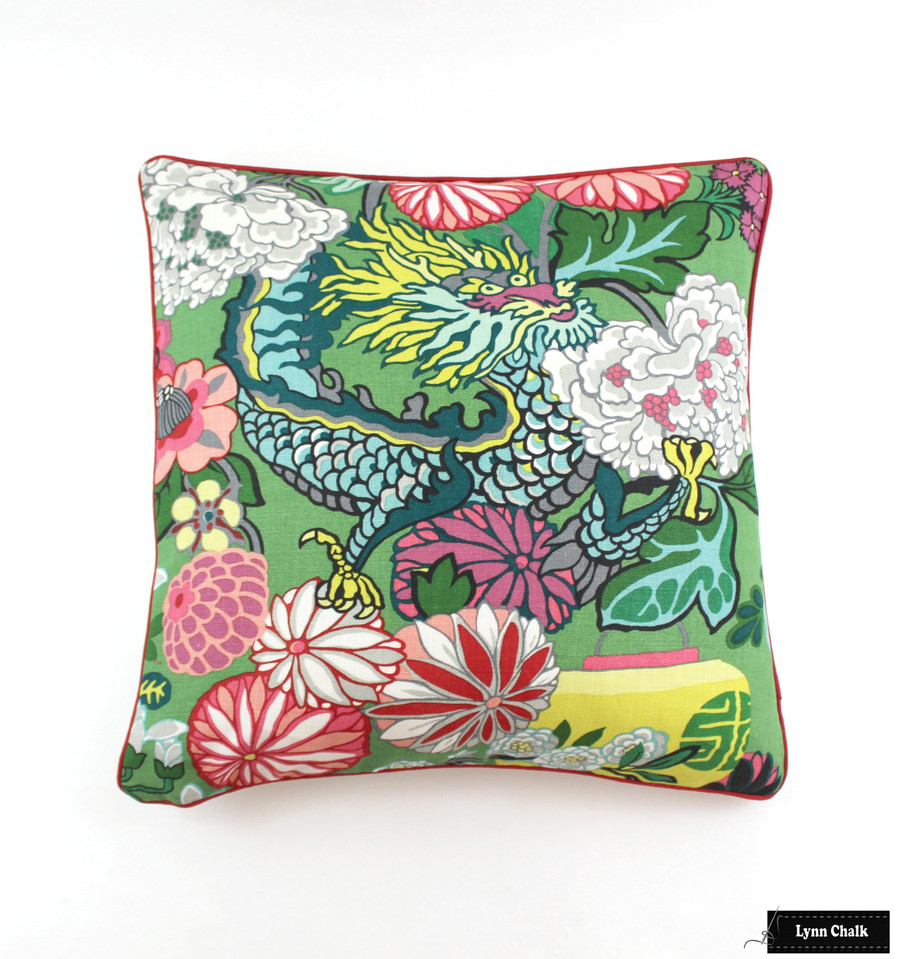 Schumacher Chiang Mai Dragon Pillows with self welting (shown in Aquamarine-comes in 8 colors) 2 Pillow Minimum Order