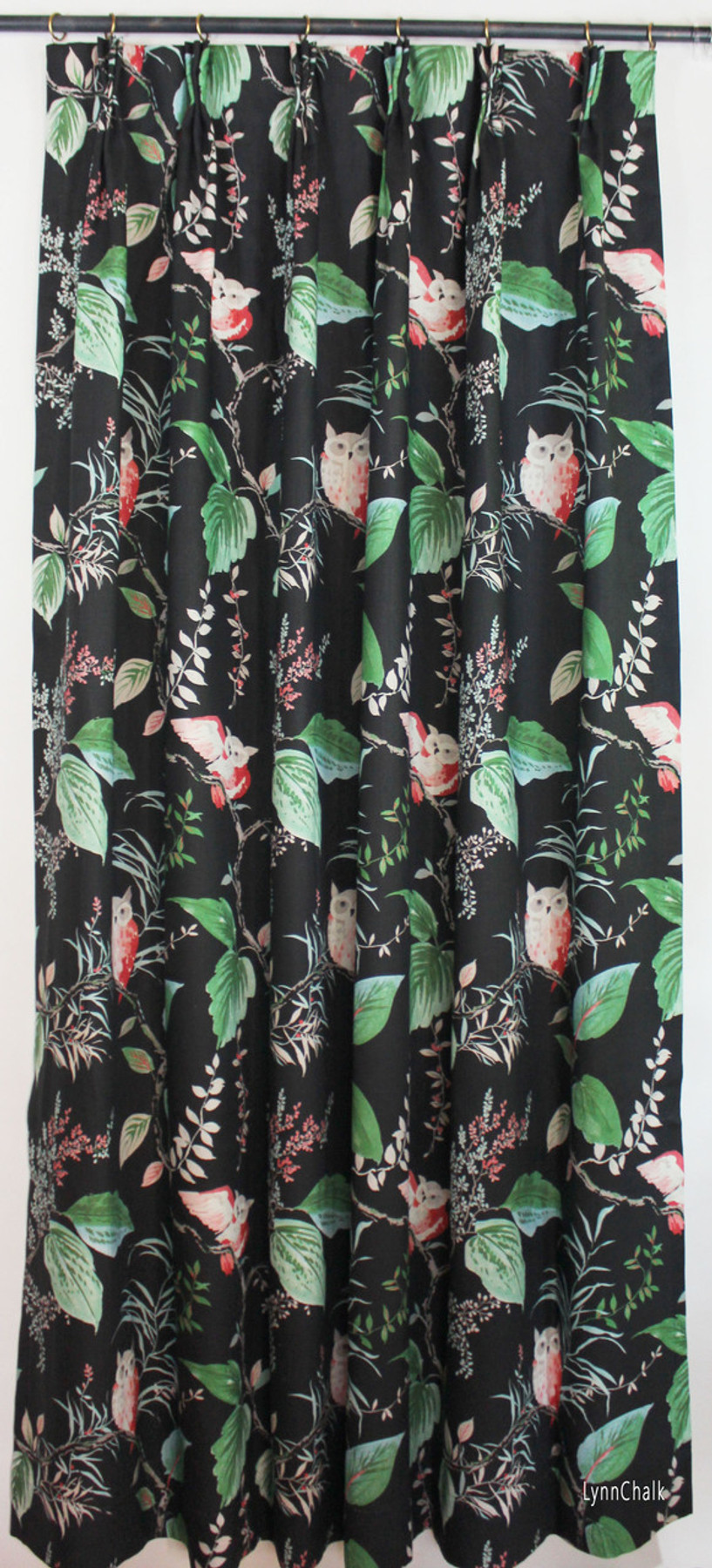 Custom Drapes in Kate Spade Owlish in Black