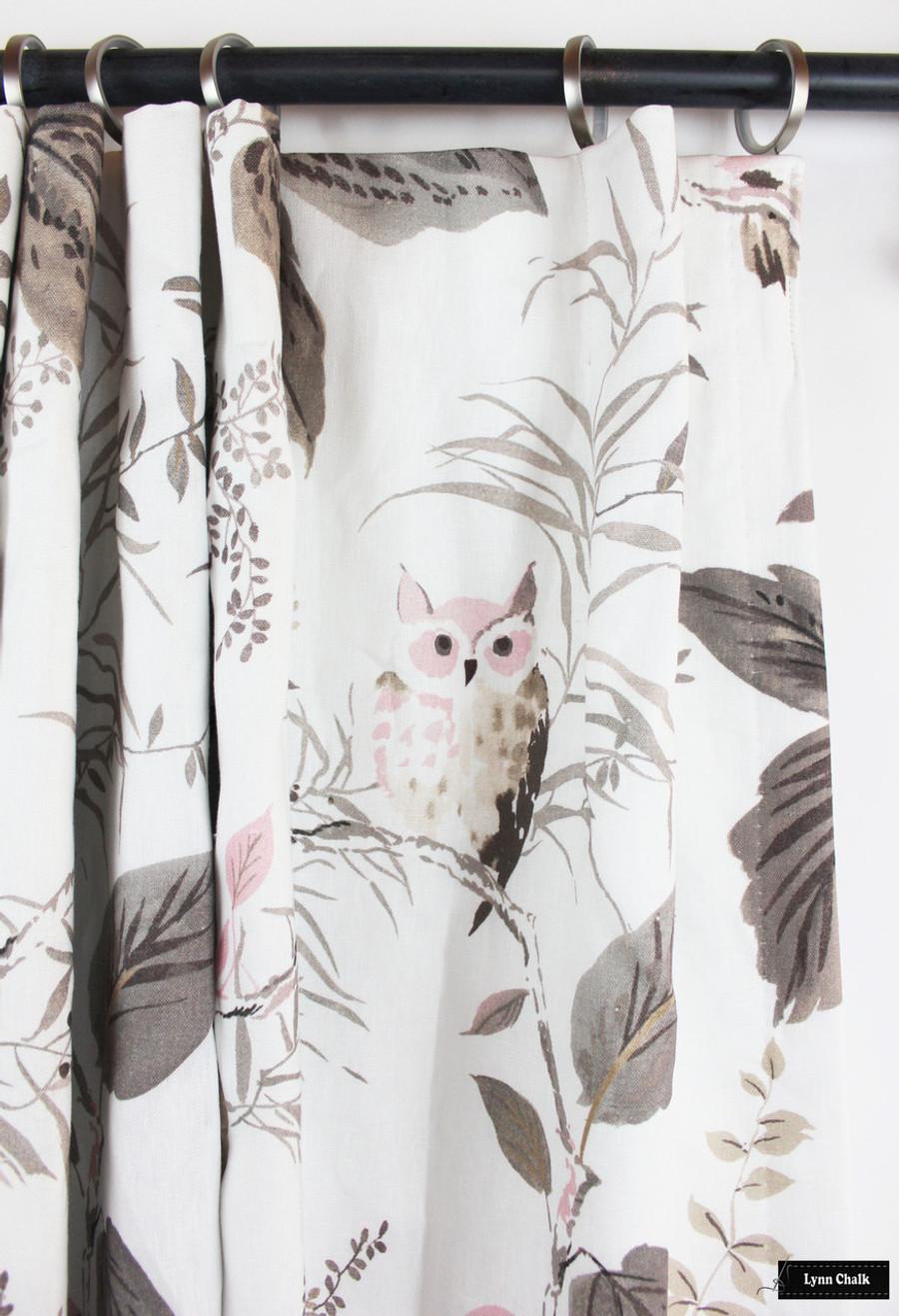Custom Drapes in Kate Spade Owlish in Blush
