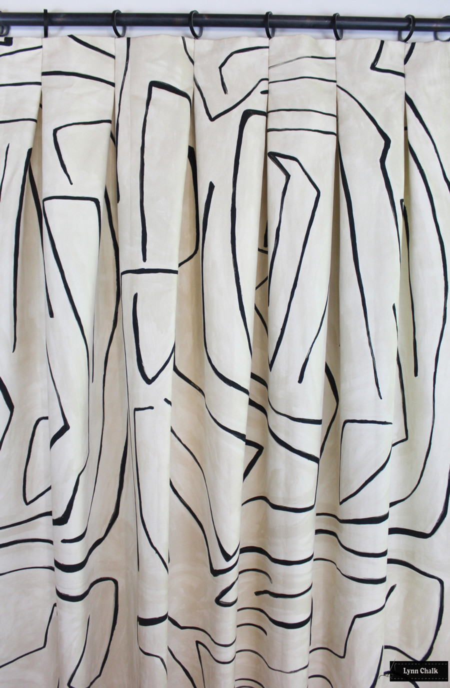 Drapes with Inverted Pleats in Kelly Wearstler Graffito in Linen/Onyx