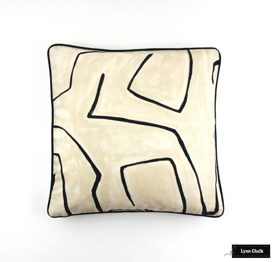 Kelly Wearstler Graffito Pillow in Linen/Onyx with Black Welting (20 X 20)