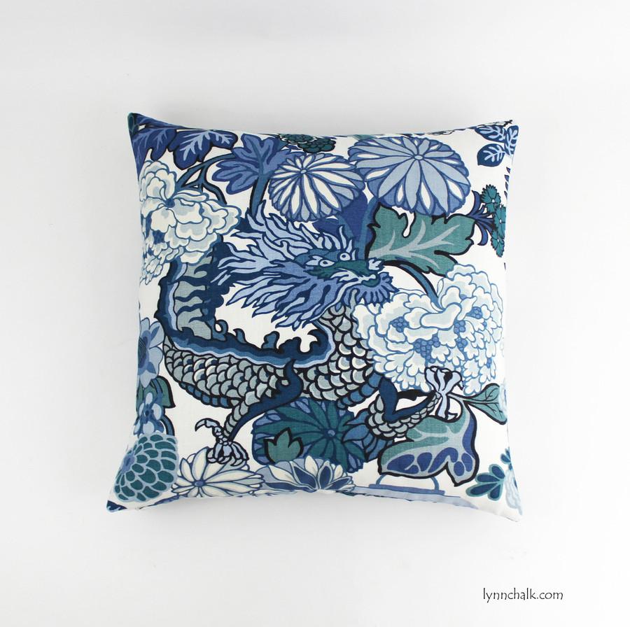 Chiang Mai Dragon Pillow in China Blue