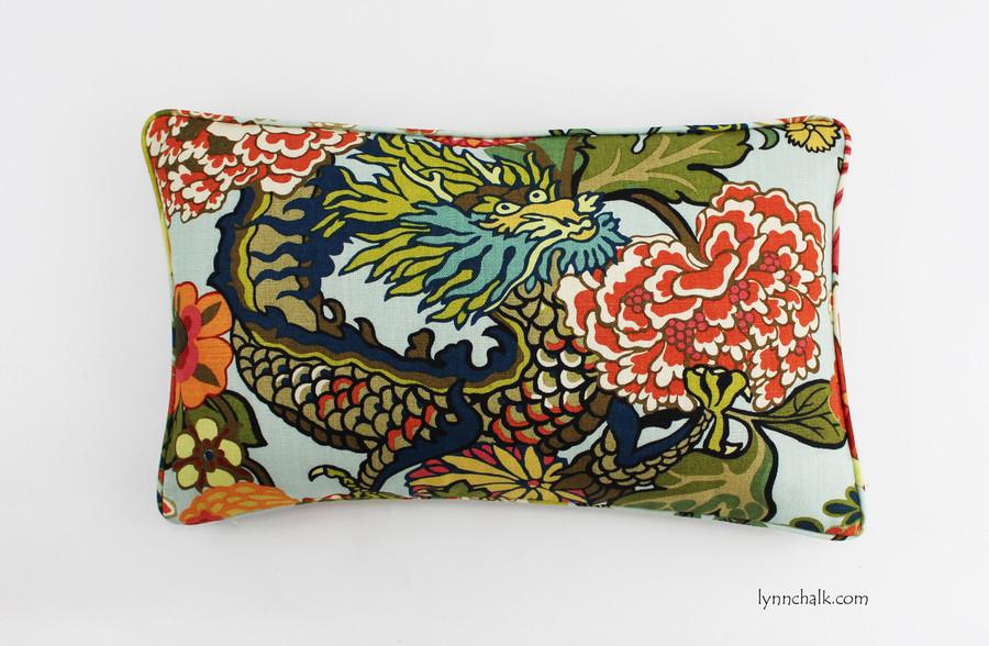 Chiang Mai Dragon Pillow in Aquamarine
