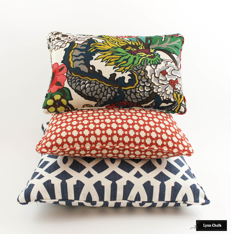Schumacher Chiang Mai Dragon Knife Edge Pillows (shown in Alabaster-comes in 8 colors) 2 Pillow Minimum Order