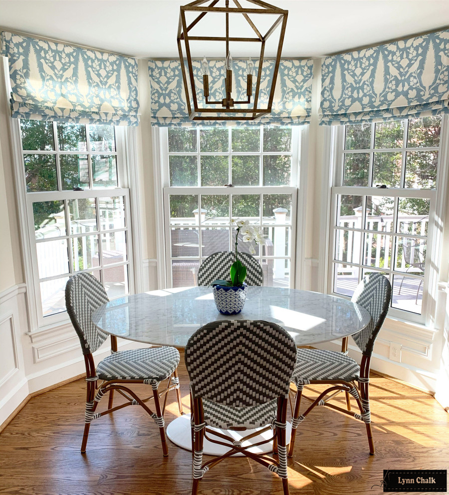 Schumacher Chenonceau Custom Roman Shades in Kitchen Bay Window (shown in Sky-comes in many colors)