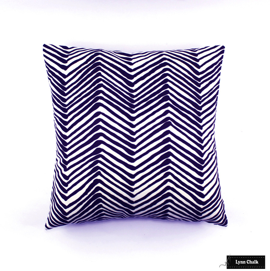 ON SALE  - Quadrille Zig Zag Navy Blue on White AC302-18W Knife Edge Pillow (Front Only- Made To Order)