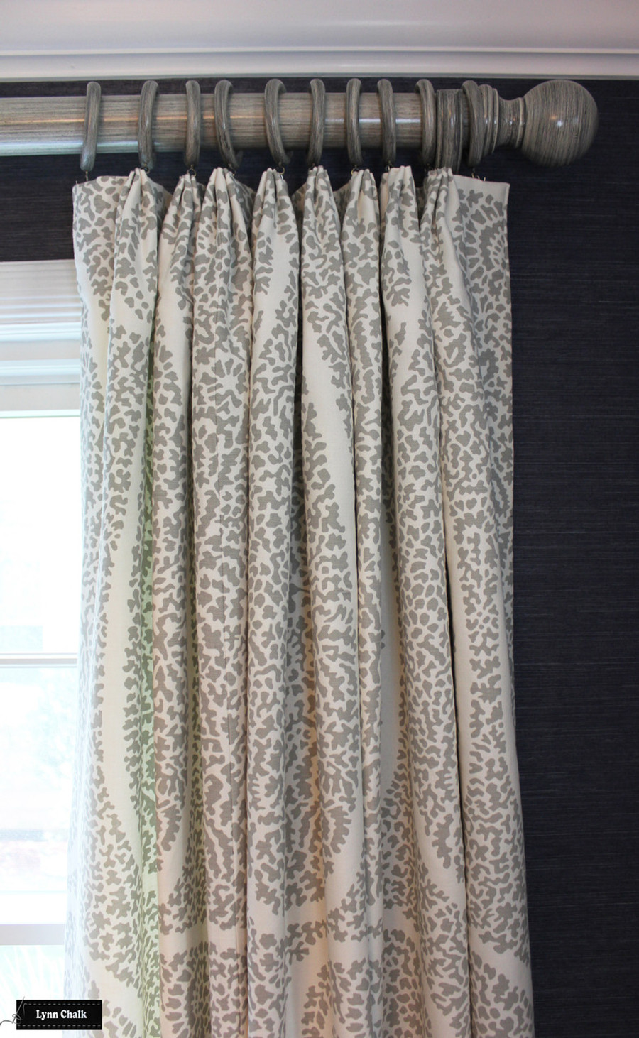 Schumacher Ambala Paisley Fog Drapes with Western Wood Supply Drapery Hardware Painted in Old Ivory.