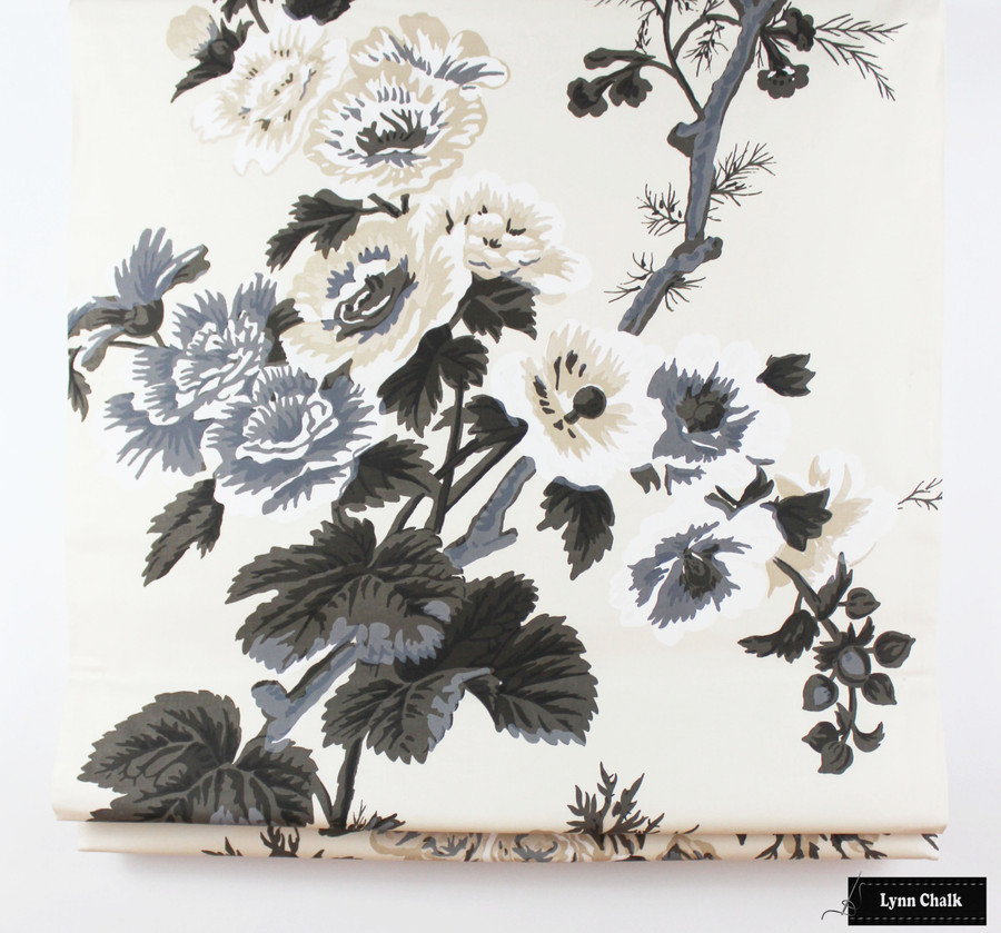 Schumacher Pyne Hollyhock Print Charcoal Fabric 174450