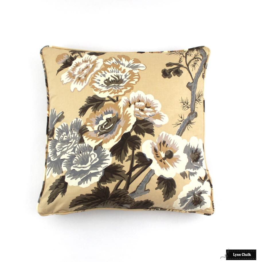 Schumacher Pyne Hollyhock Print Indigo Fabric 174452