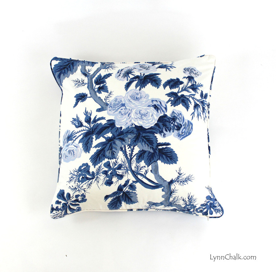 Custom Pillows in Hollyhock Print in Indigo with self welting (22 X 22)