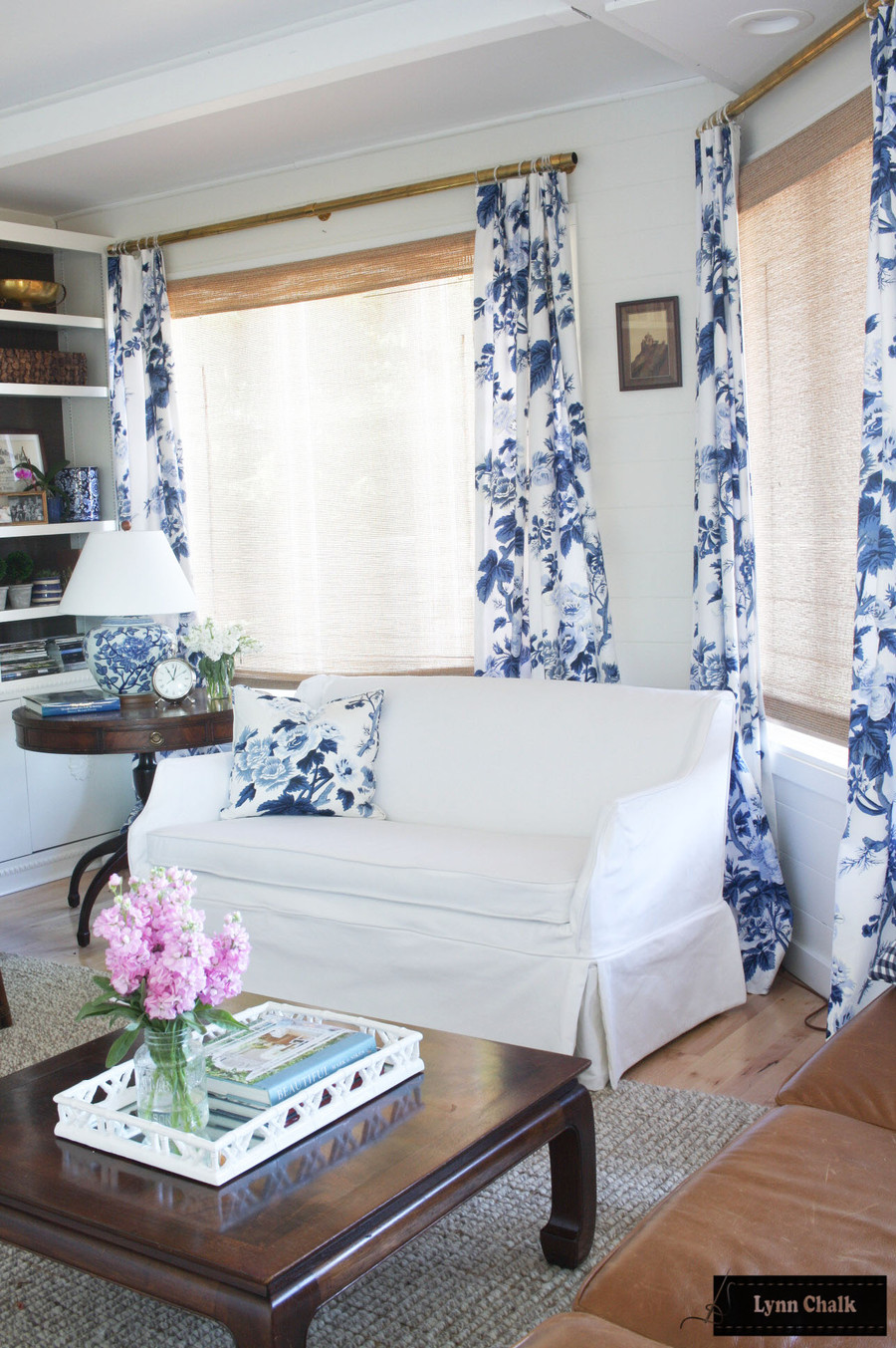 Schumacher Pyne Hollyhock Print Indigo Drapes and Pillow (comes in other colors)