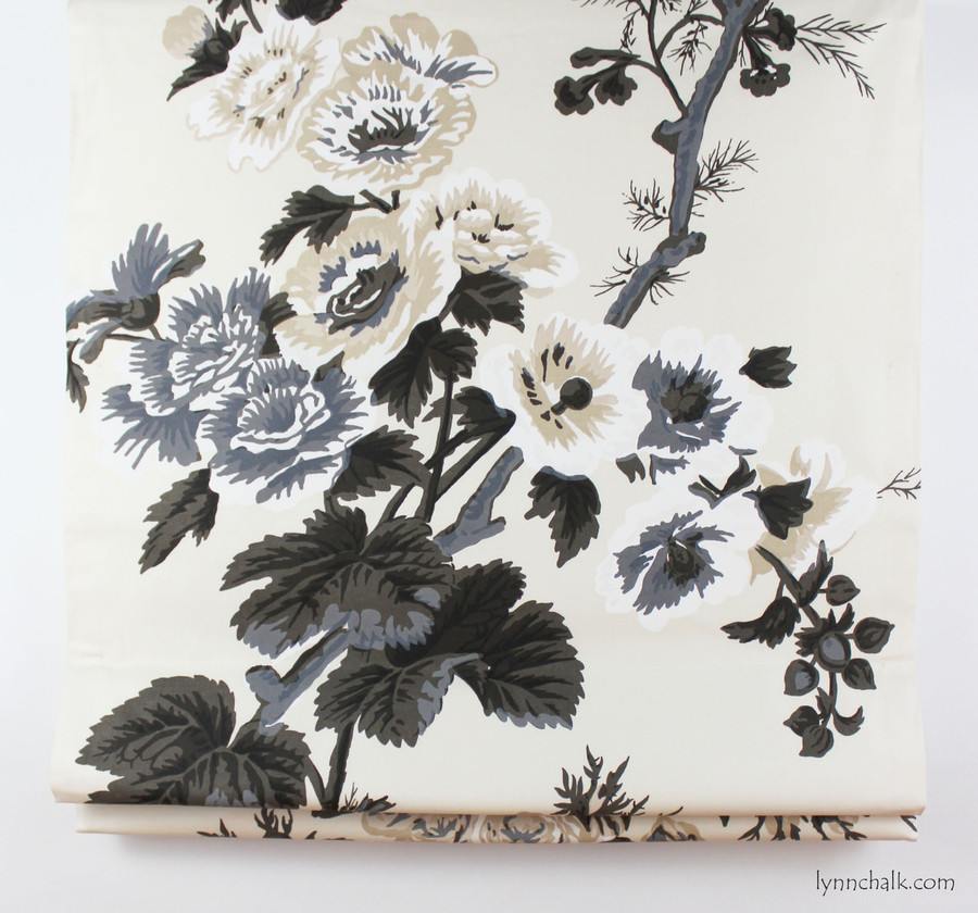 Roman Shade in Pyne Hollyhock Print Charcoal