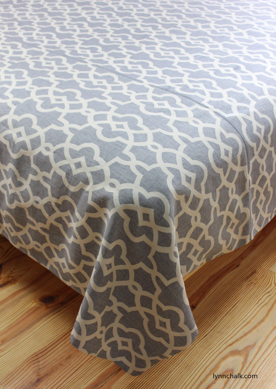 Custom Duvet Cover by Lynn Chalk in Summer Palace Fret in Wisteria