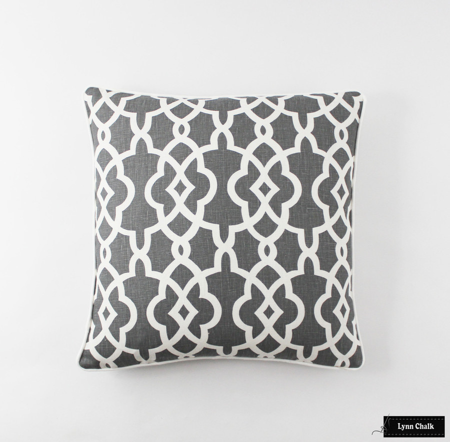 Summer Palace Fret Pillow in Smoke (20 X 20)