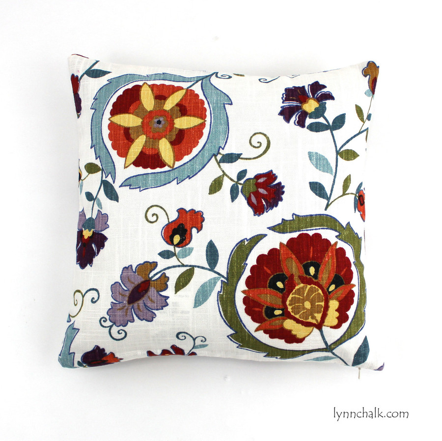 """Suzanne Kasler 16"""" X 16"""" Pillow in Montmartre Clay and Blue"""