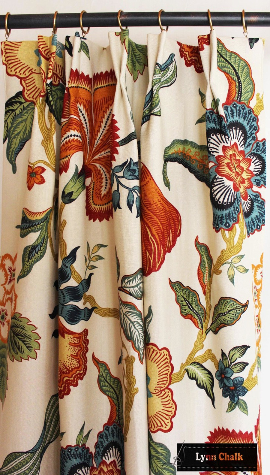 Schumacher Celerie Kemble Hothouse Flowers Custom Drapes (shown in Spark-comes in other Colors)