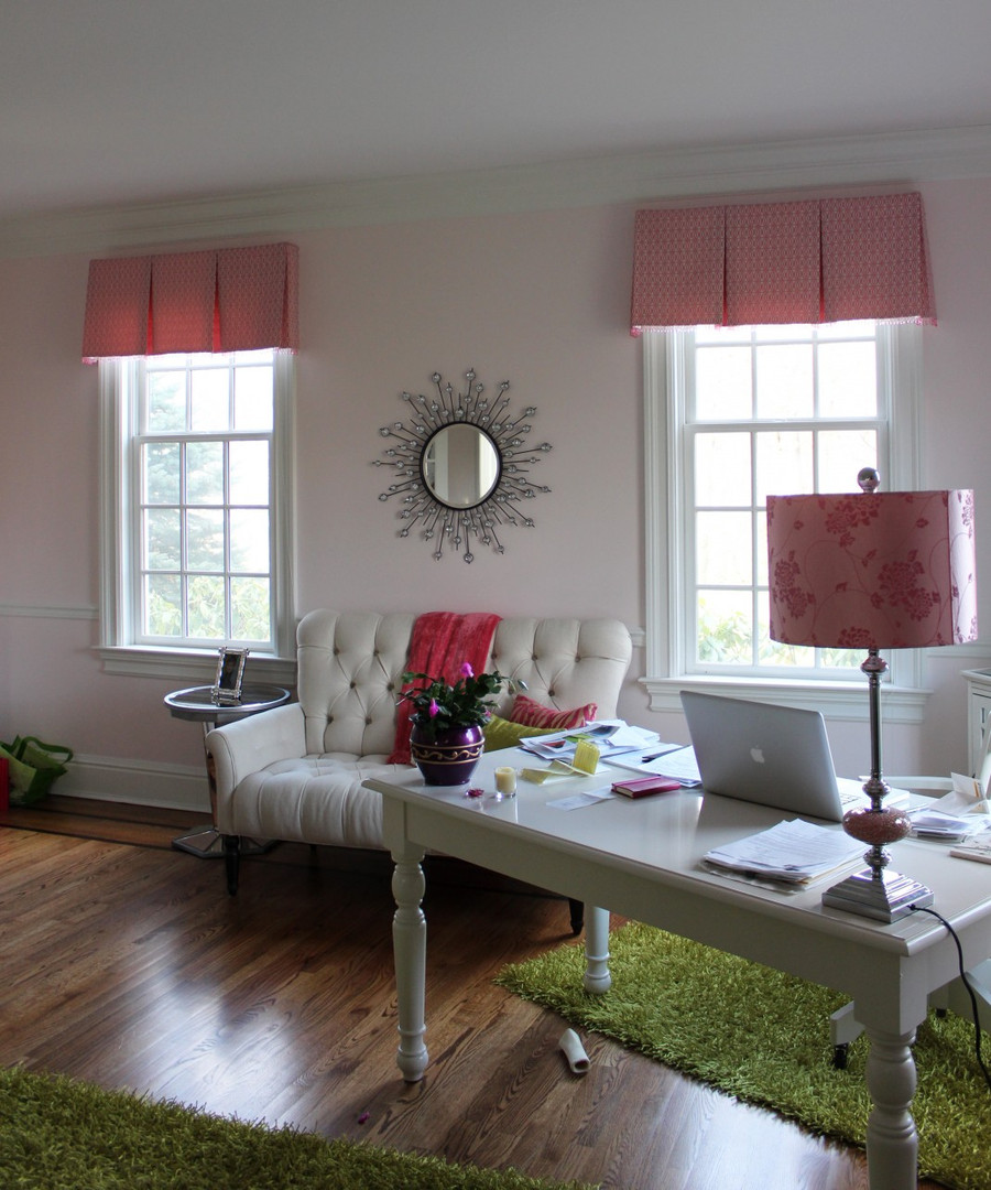 Box Pleated Valances in Robert Allen Joined Circles in Fuchsia with Kravet Crystal Bead Trim
