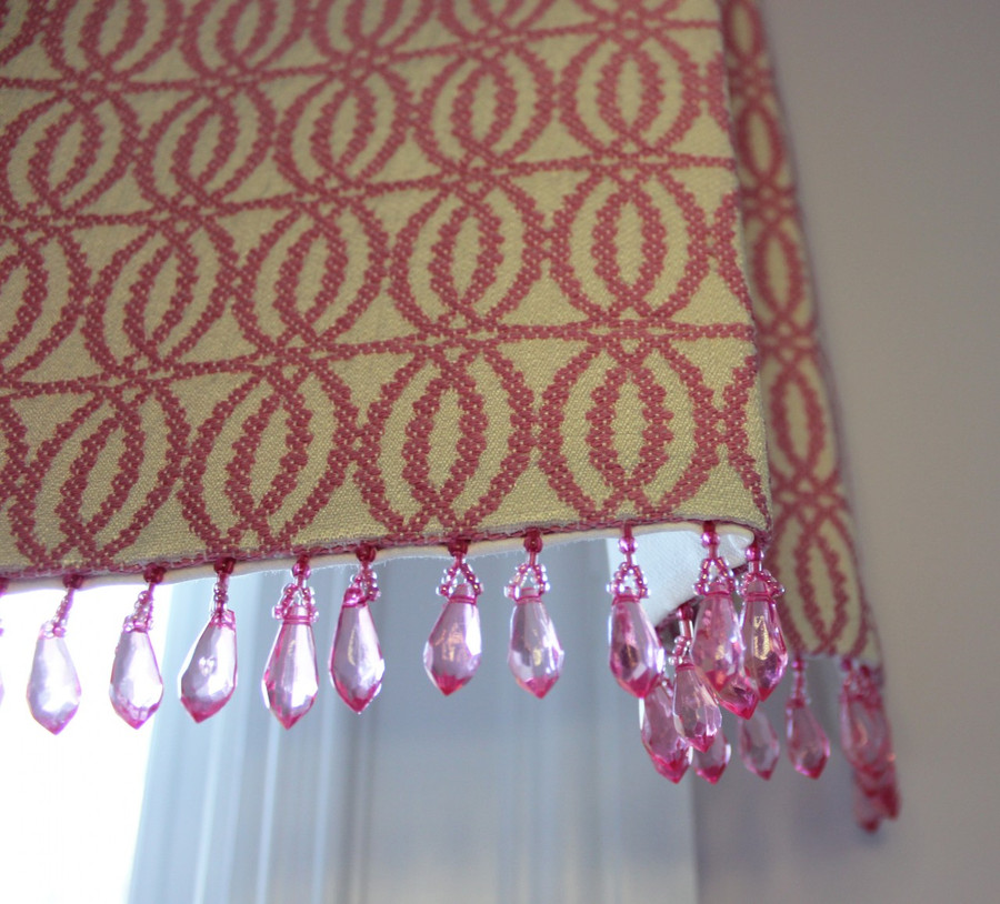 Box Pleated Valance in Robert Allen Joined Circles in Fuchsia with Kravet Crystal Bead Trim