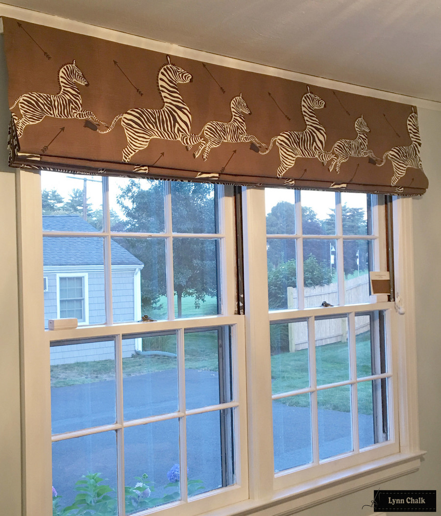 Double Wide Roman Shade in Scalamandre Zebras Safari Brown