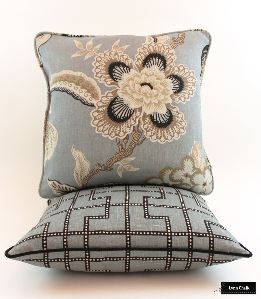 Schumacher Celerie Kemble Pillows - Bleecker in Twilight Pillow with black welting and Hothouse Flowers in Mineral Lynn Chalk