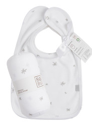 Bib set (2) with swaddling wrap in grey star
