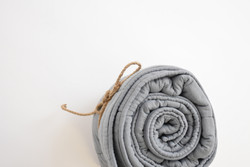 muslin quilt grey rolled