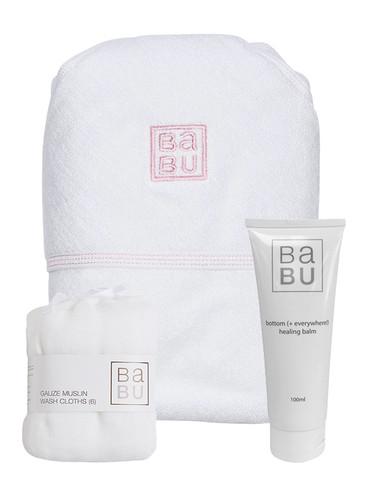 organic bathing newborn pack pink stitch, bottom balm, gauze muslin