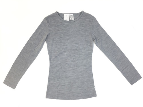 merino womens long sleeve tee grey