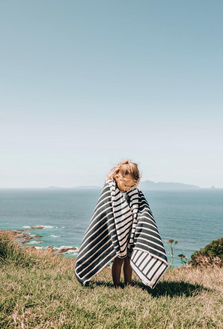 navy and cream stripe cotton blanket