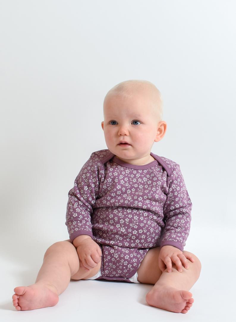 Organic Baby Ditsy Floral Dark Lilac Bodysuit