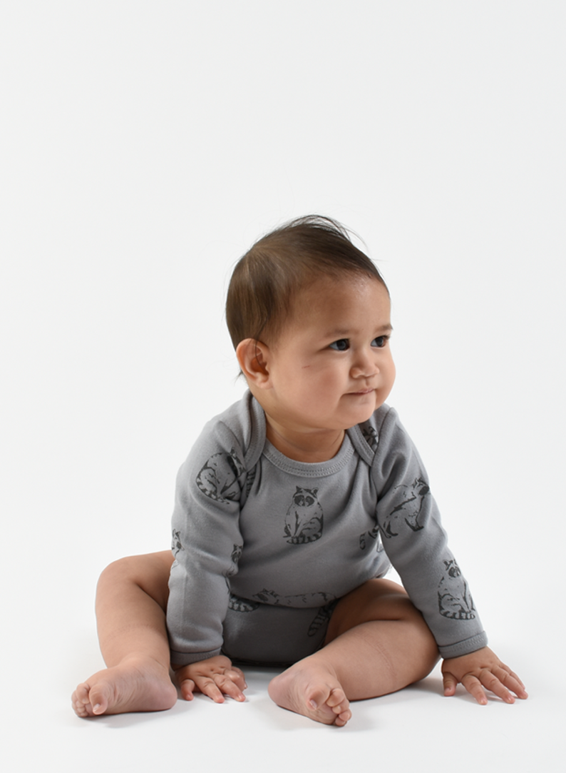 Organic Bodysuit in Neutral greys and racoon print