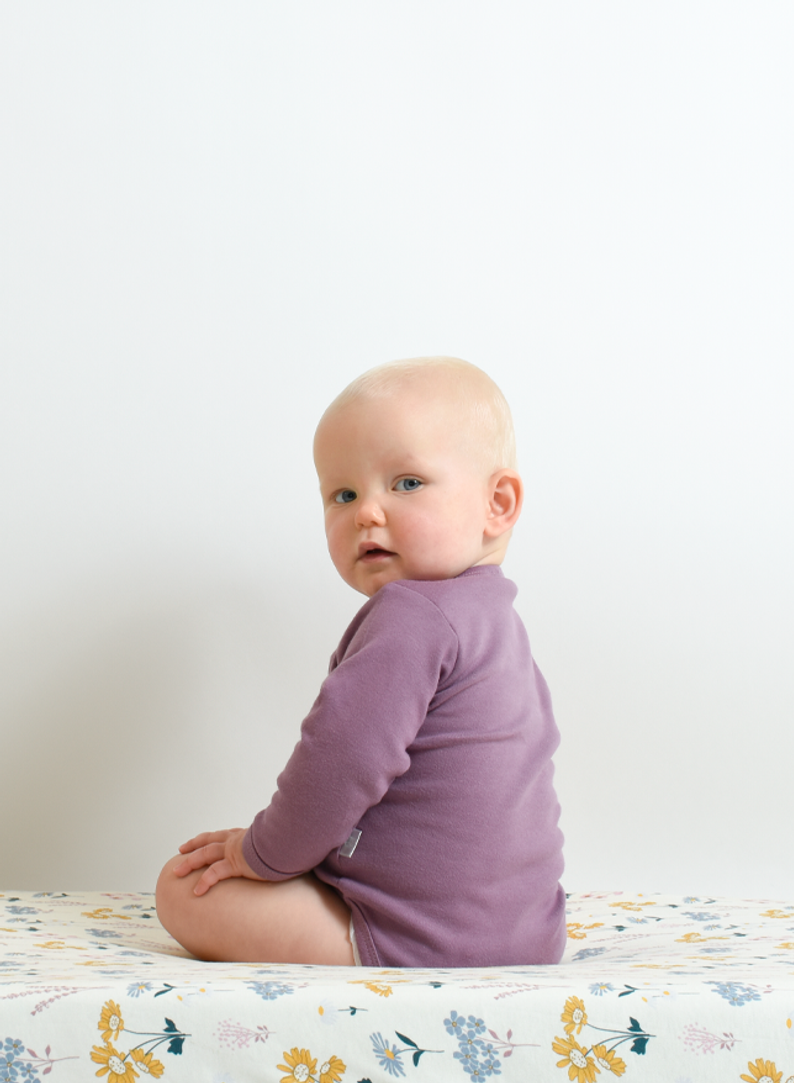 Dark berry orchid Lilac Bodysuit in Organic cotton
