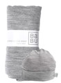 Merino swaddle wrap and baby hat in grey