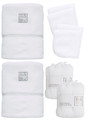 Organic large bathing bundle terry baby hooded towels and matching facecloths grey, gauze muslins