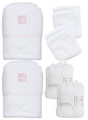 Organic large bathing bundle terry baby hooded towels and matching facecloths pink, gauze muslins