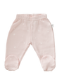 Cotton baby leggings with feet in shell pink star