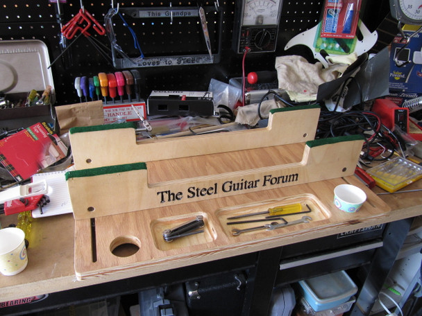The prototype on a cluttered workbench